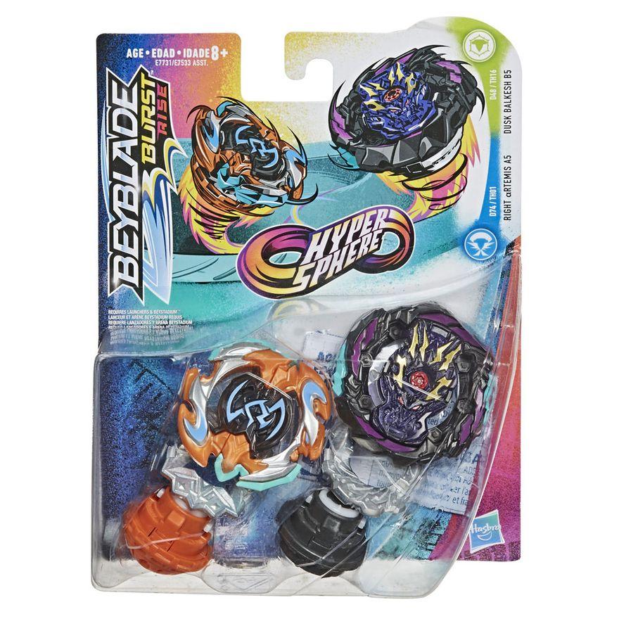 Pioes-de-Batalha---Beyblade-Burst-Rise---Hyper-Sphere-Duplo---Rigth-Artemis-Vs-Dusk-Balkesh---Hasbro
