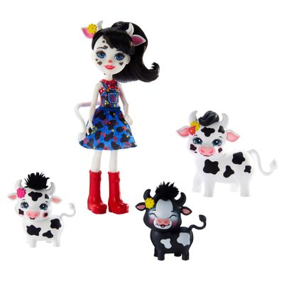 Mini-Boneca-Articulada-e-Pets---21-Cm---Enchantimals---Familia-de-Inverno---Cambrie-Cow-Ricotta-Mac-e-Cheese---Mattel