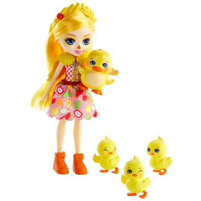 Mini-Boneca-Articulada-e-Pets---21-Cm---Enchantimals---Familia-de-Inverno---Dinah-Duck-Slosh-Corn-Butter-e-Banana---Mattel