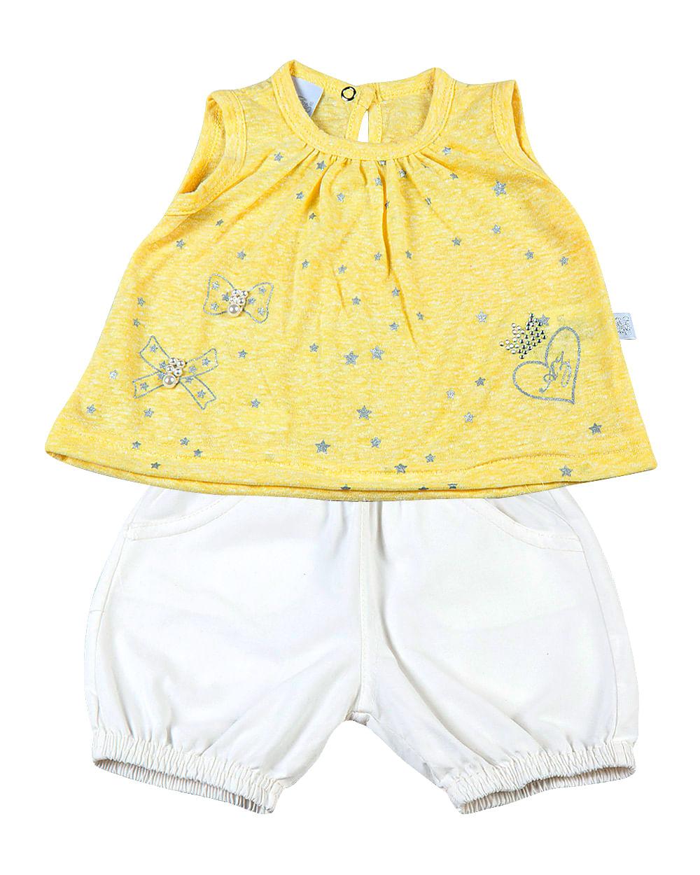 Conjunto Bebê Malha Clouds e Tela Paper Estrelas-Coração AZ - Amarelo