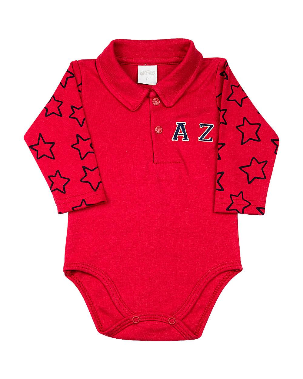 Body Bebê Golinha Suedine Liso e Estampa Estrelas AZ - Vermelho
