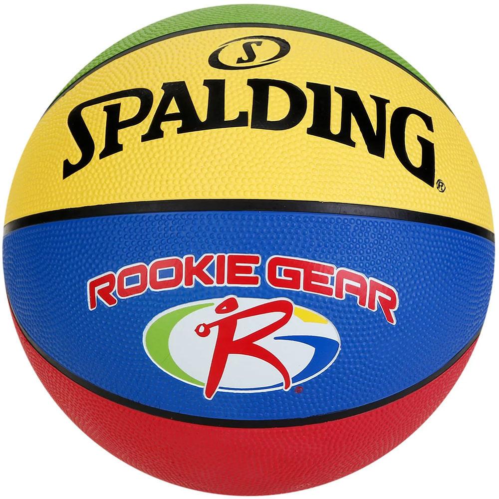 Bola de Basquete - NBA - Azul e Amarelo - Rookie Gear Outdoor Júnior - Tam 5 - Spalding