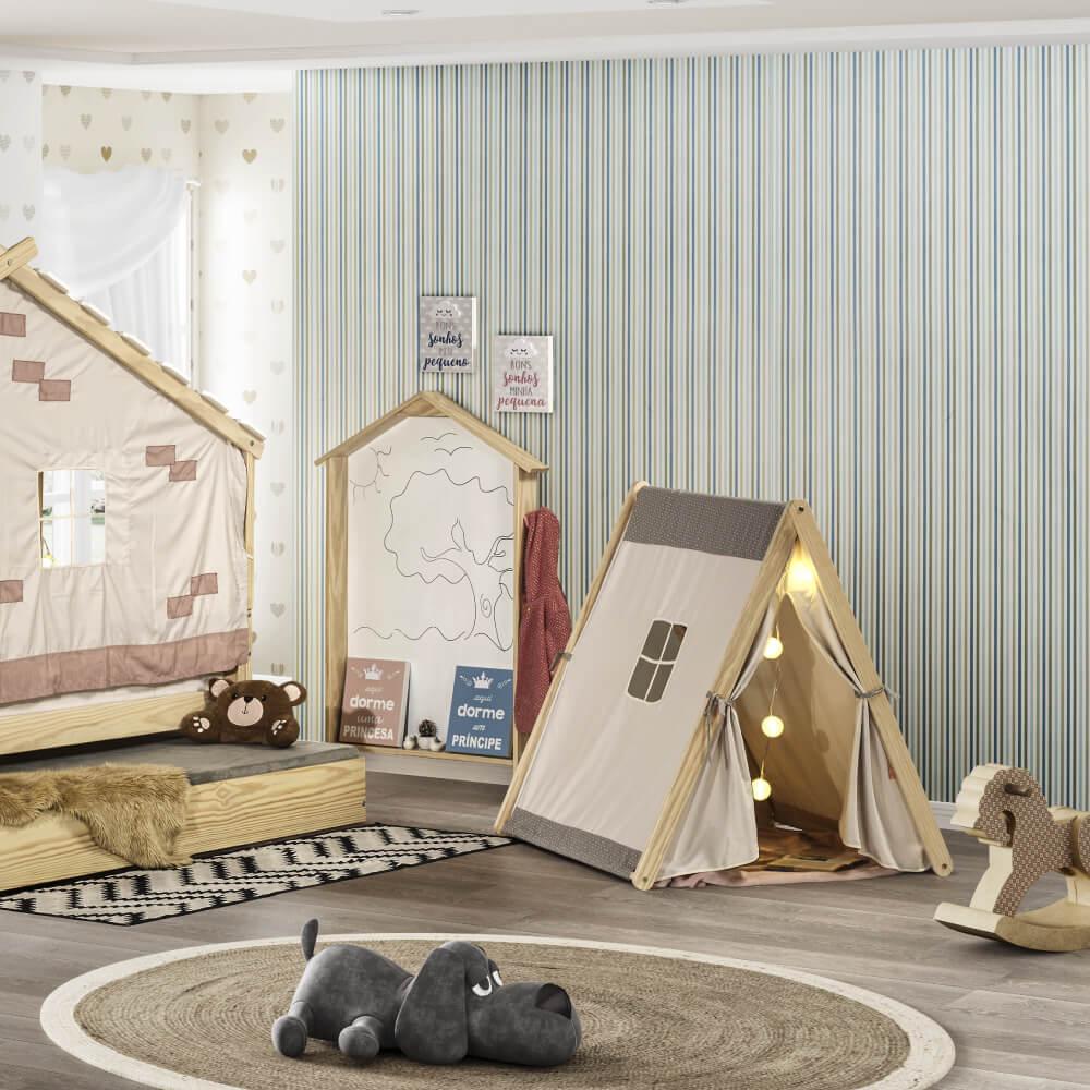 Cabana Infantil Casinha com tenda Cinza/Marfim/Natural - Casatema