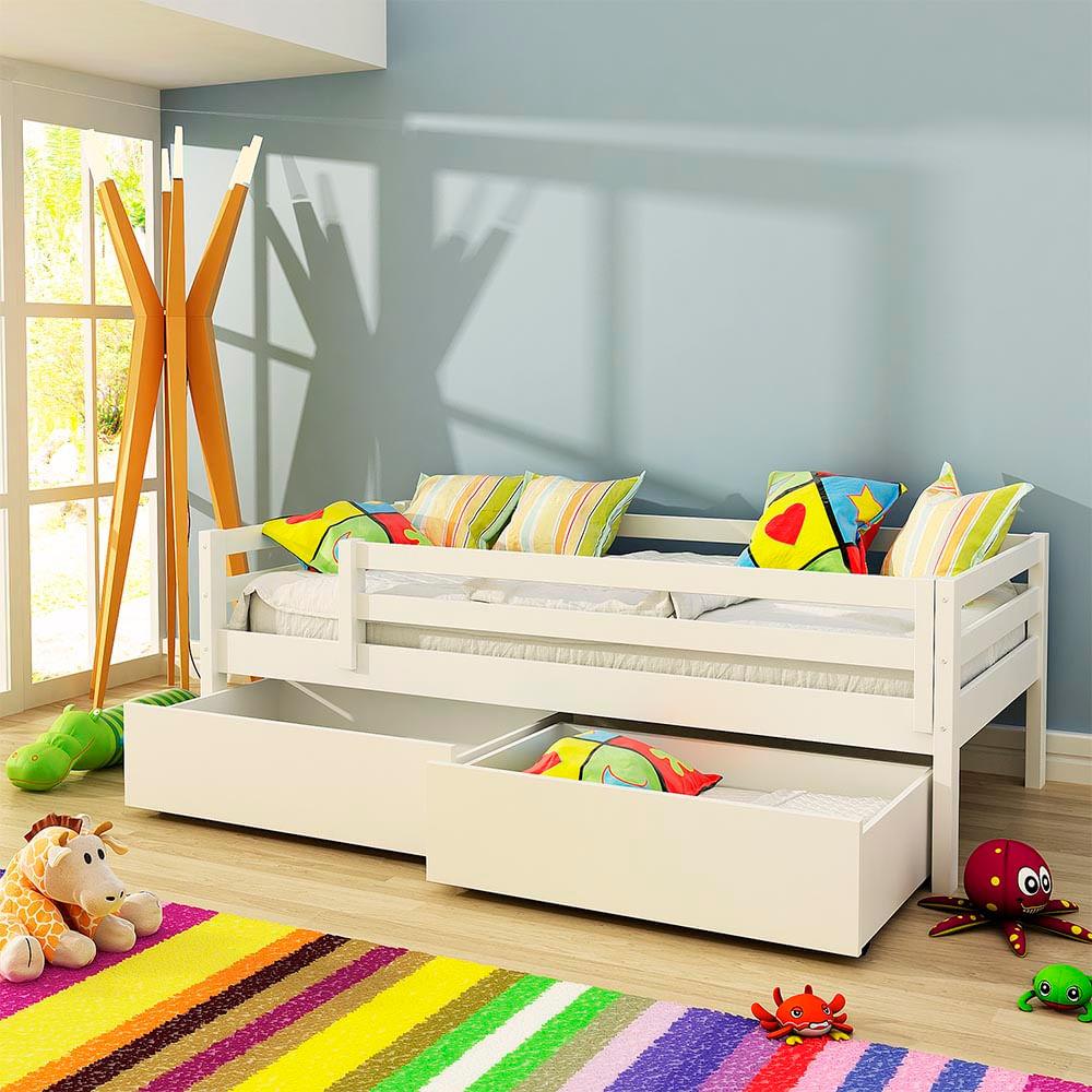 Cama Infantil Prime com 2 Gavetões e Grade de Proteção - Madeira Maciça - Laca Branco
