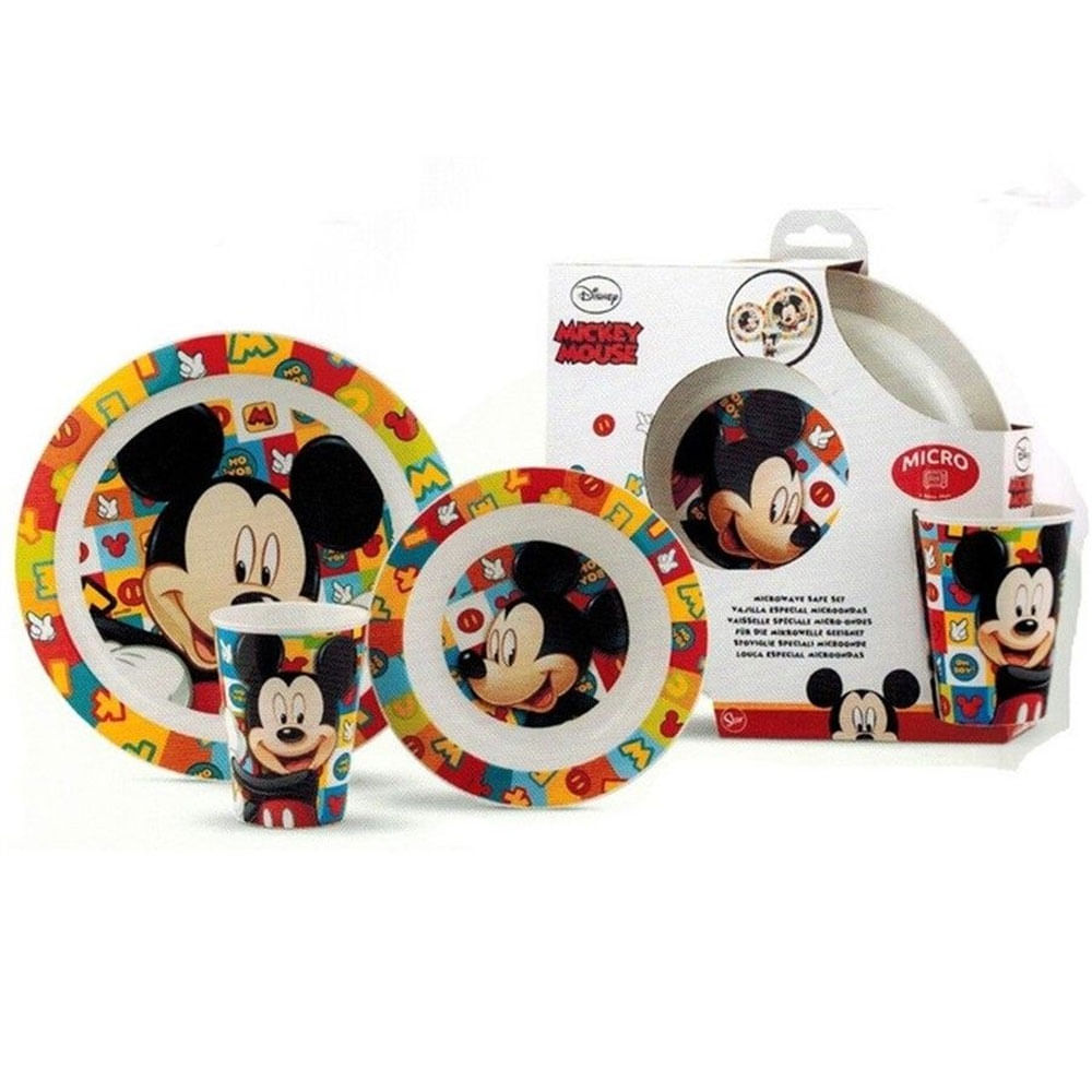 Conjunto de Alimentação - Disney - Mickey Mouse - Pratinho e Copo - 3 Peças - Lillo