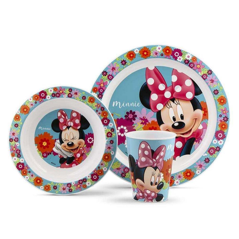 Conjunto de Alimentação - Disney - Minnie Mouse - Pratinho e Copo - 3 Peças - Lillo