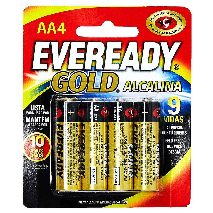 Pilhas-Alcalinas---LR6-Pequena---AA---Cartela-com-4-Unidades---Eveready-Gold