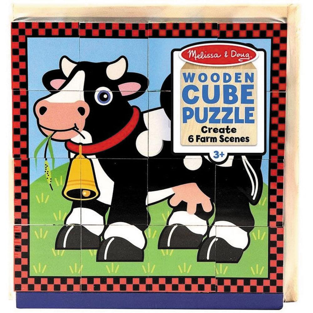 Quebra Cabeça - Fazendinha - Wooden Cube Puzzle - Minimi