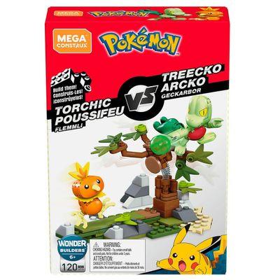 Blocos-de-Montar---Mega-Construx---Playset-de-Batalha---Pokemon---Torchic-vs-Treeko---Mattel