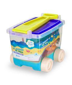 Conjunto-de-Praia---Carrinho-Pa-Balde-Rastelo-Formas-e-Regador---Azul---Fan-Fun