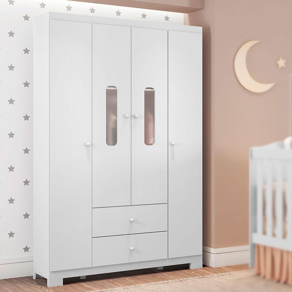 Guarda Roupa Infantil Sonhos 4 Portas Branco Móveis Estrela