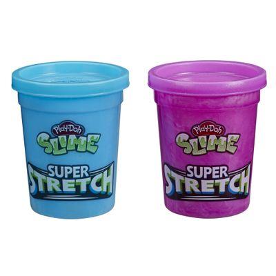 Conjunto-de-Slimes---Play-Doh---Super-Stretch---Azul-e-Roxo---238-Gramas---Hasbro_Frente