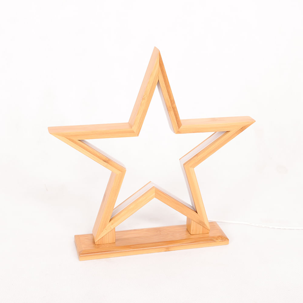 Luminária de Mesa em Bambu Büp Baby Natural Estrela