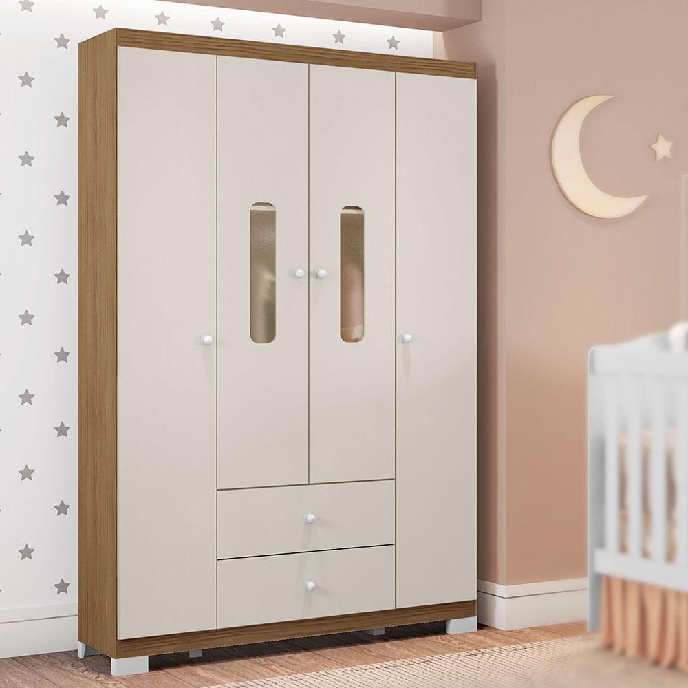 Guarda Roupa Infantil Sonhos 4 Portas Off White/Almendra Móveis Estrela