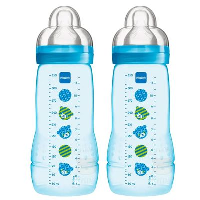 Nova-Mamadeira-Fashion-Bottle---Boys---330ml---Double-Pack---Ursinhos---MAM
