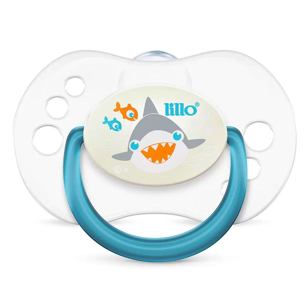 Chupeta com Bico Simétrico - Smart Glow - Tam 2 - Azul - Tubarão - Lillo