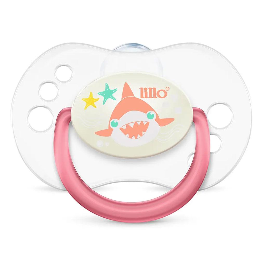 Chupeta com Bico Simétrico - Smart Glow - Tam 2 - Rosa - Tubarão - Lillo