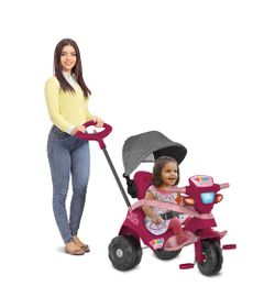 Triciclo-de-Passeio-e-Pedal---Velobaby---Reclinavel-C-Capota---Pink---Bandeirante-0