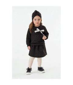 Conjunto-Infantil---Blusao-e-Saia---Algodao-e-Poliester---Poas---Preto---Malharia-Cristina---1