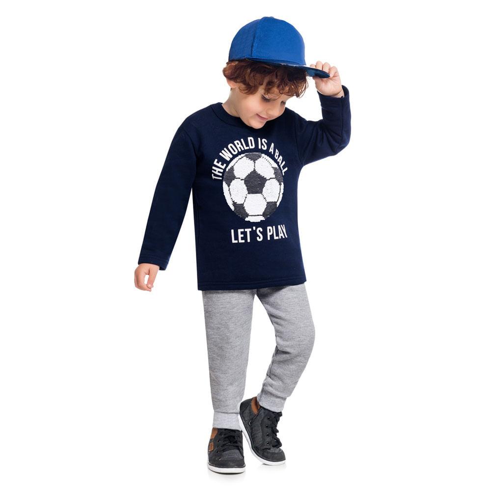 Conjunto Infantil - Blusão e Calça - 100% Algodão - Marinho - Kyly
