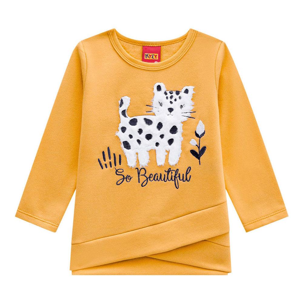 Conjunto Infantil - Blusa e Legging - 100% Algodão - Gato - Amarelo - Kyly