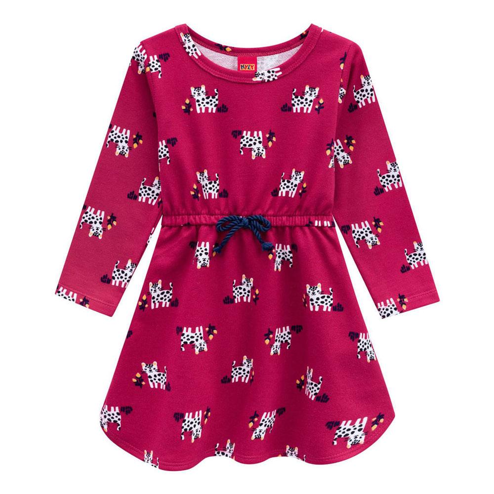 Vestido Manga Longa - 100% Algodão - Gatinhos - Vermelho - Kyly