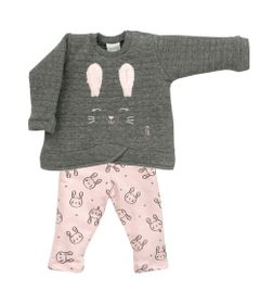 Conjunto-Infantil---Blusa-e-Calca---Algodao-e-Poliester---Coelha---Cinza---Tilly-Baby---M