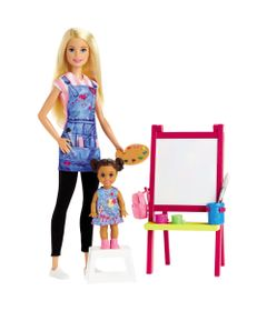 Playset-e-Boneca-Barbie---Profissoes----Barbie-Professora-de-Artes---Mattel_Frente