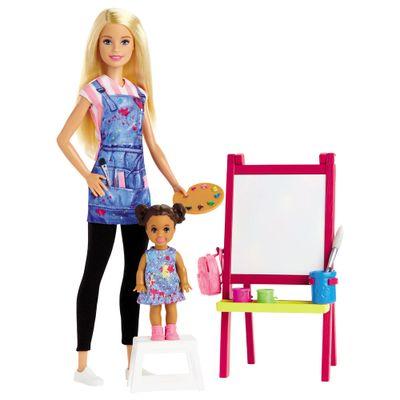 Playset-e-Boneca-Barbie---Profissoes----Barbie-Professora-de-Artes---Mattel_Frente