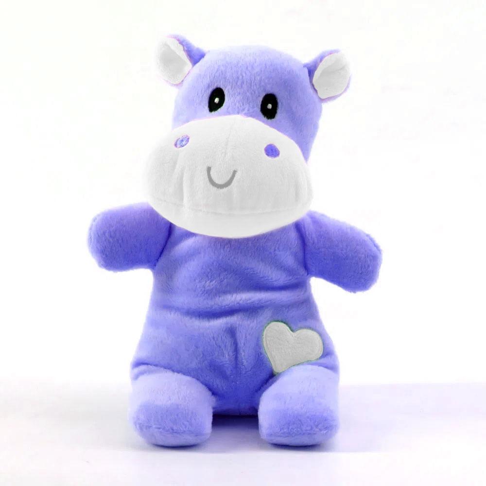 Chocalho com Mordedor - Hipopótamo - 20 Cm - Azul - Love