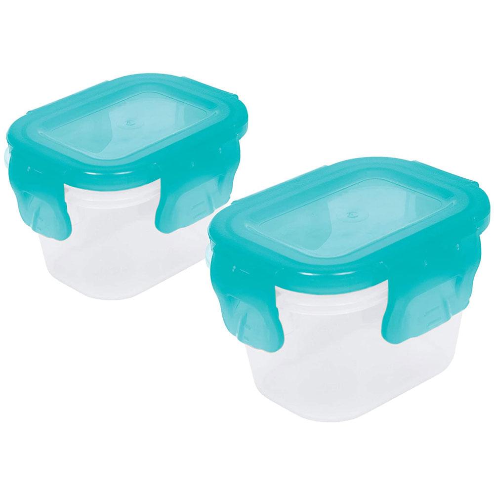 Conjunto de Potes com Tampa Hermética - 2 Und - Azul - Buba