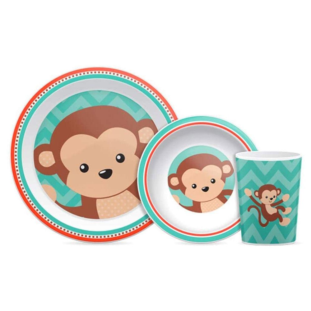 Conjunto de Refeição - 3 Peças - Animal Fun - Macaco - Buba