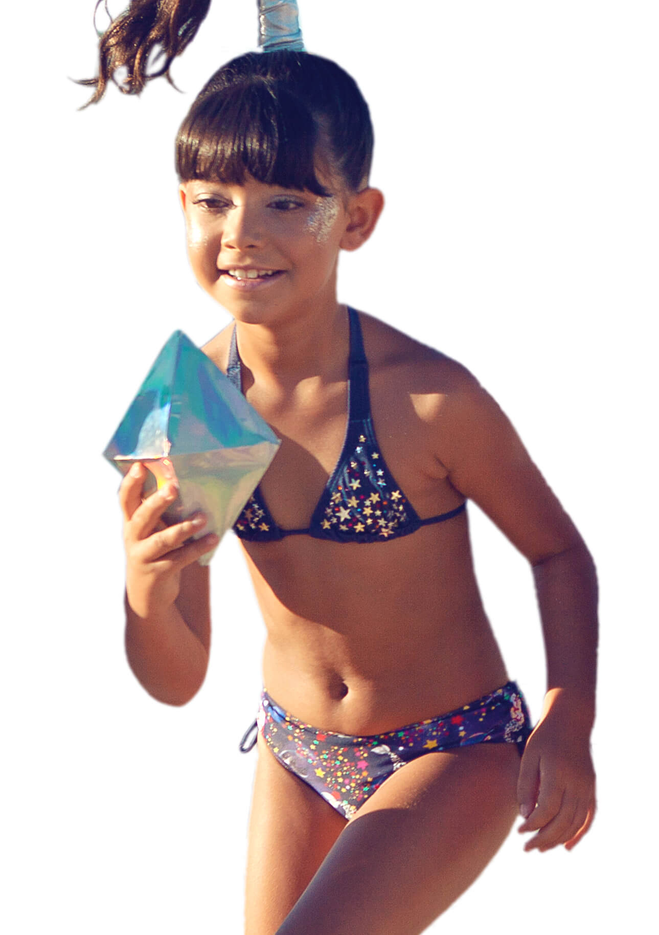 Biquíni Cortininha Estrelas Brilhantes – Siri Kids – Menina – Nylon – Colorida – 8