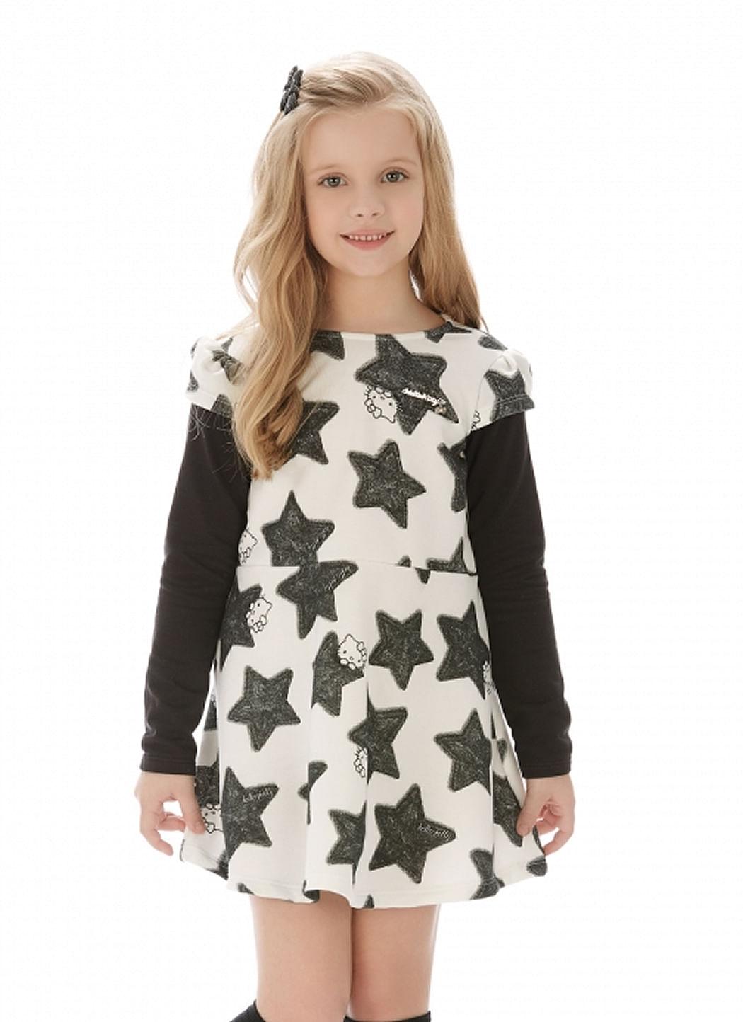 Vestido – Estrelas Mangas – Hello Kitty – Menina – Moletom – Preto