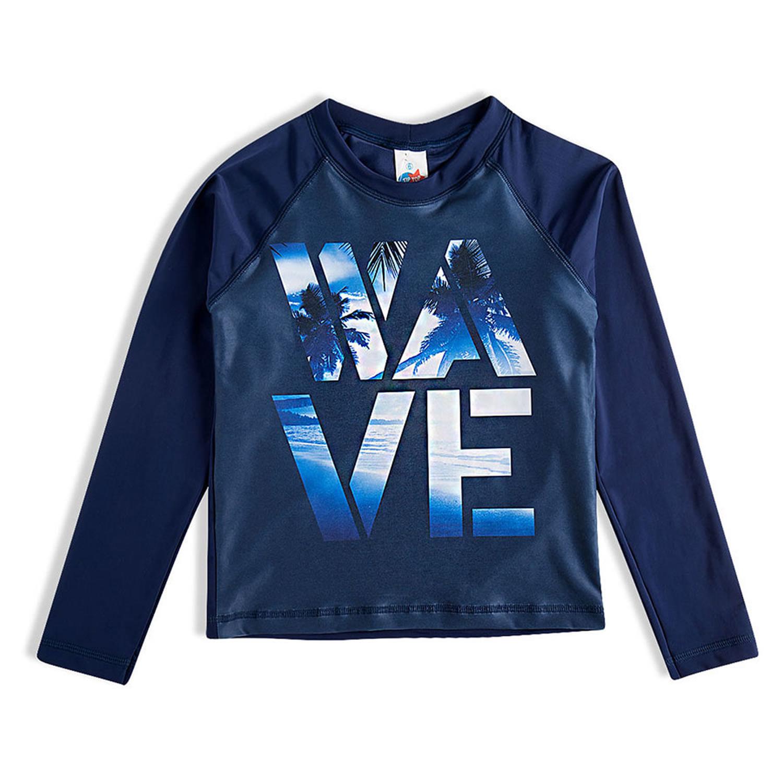 Camiseta Infantil Proteção Solar Wave Azul Manga Longa Tip Top