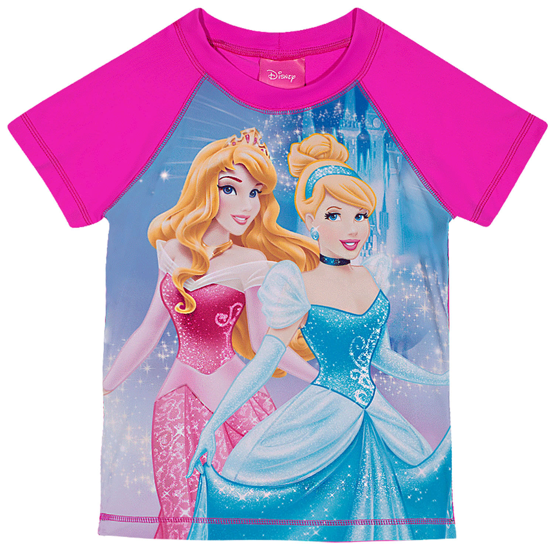 Camiseta Infantil Proteção Solar Princesas Disney Manga Curta Pink Tip Top