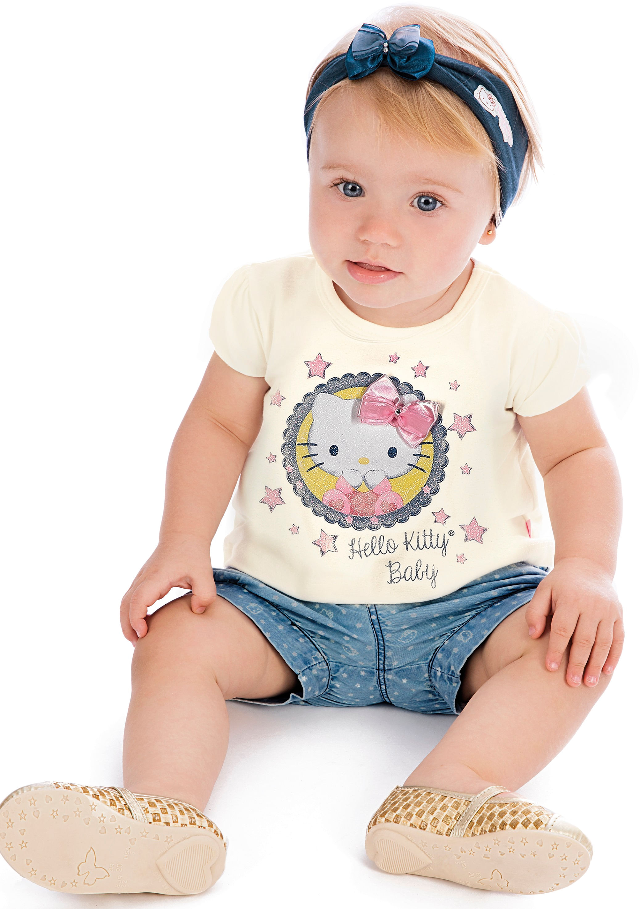 Conjunto – Camiseta Creme e Short Estrelas – Hello Kitty – Menina – Jeans – Creme – 6-9m