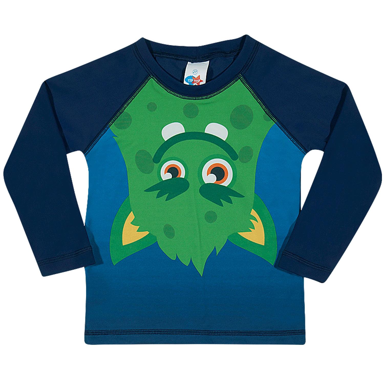 Camiseta Infantil Proteção Solar Manga Longa Azul Monstro Verde Tip Top