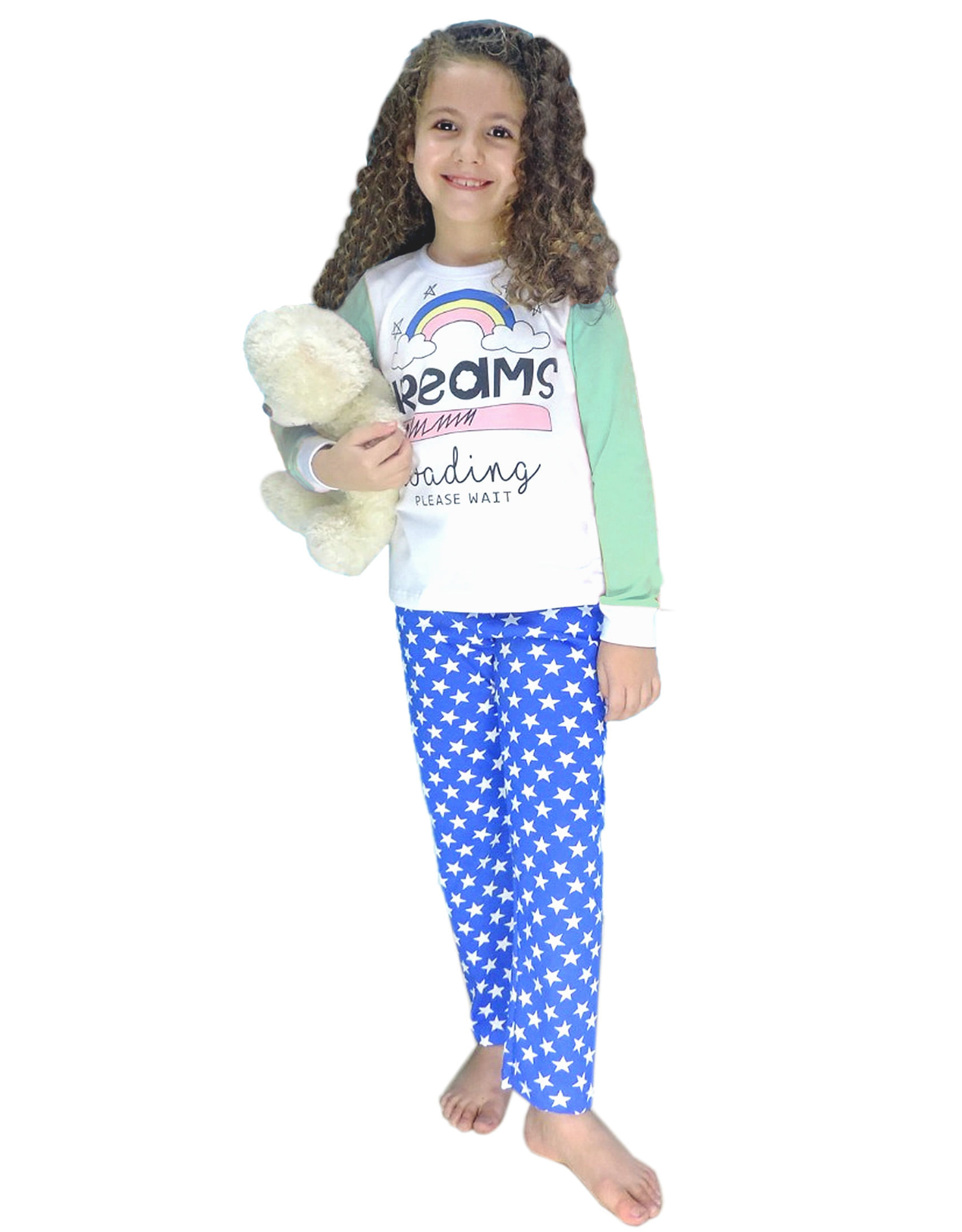 Pijama – Manga Longa Calça – MiniFan Le Petit – Menina – Malha – Azul