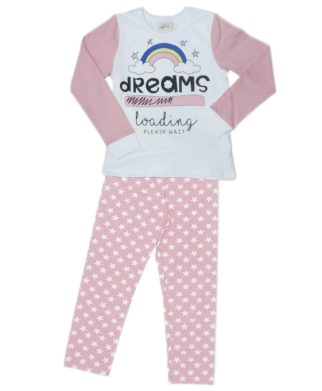 Pijama – Manga Longa Calça – MiniFan Le Petit – Menina – Malha – Rosa