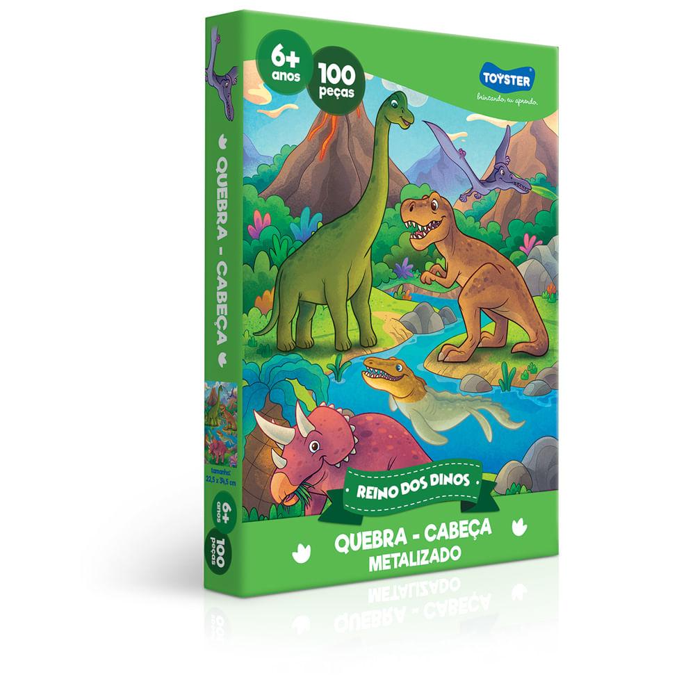 Quebra-Cabeça Metalizado - 100 Peças - Reino dos Dinos - Toyster