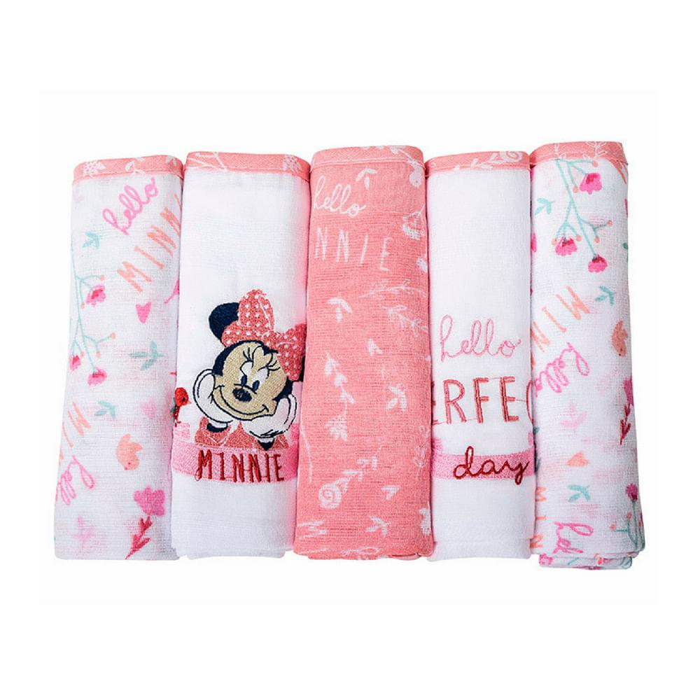 Fralda Disney minnie bordada com 5 unidades 3905