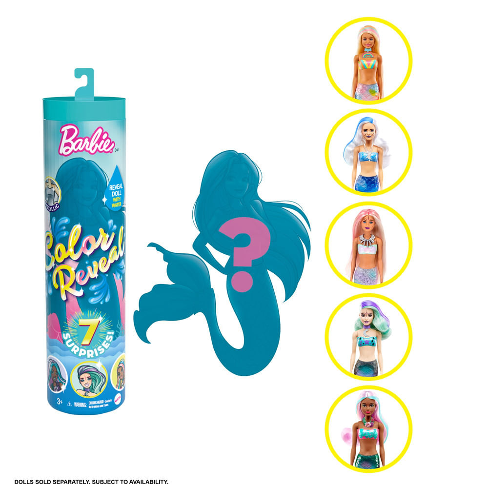 Boneca Barbie - Barbie Color Reveal - 7 Surpresas - Sereia - Mattel