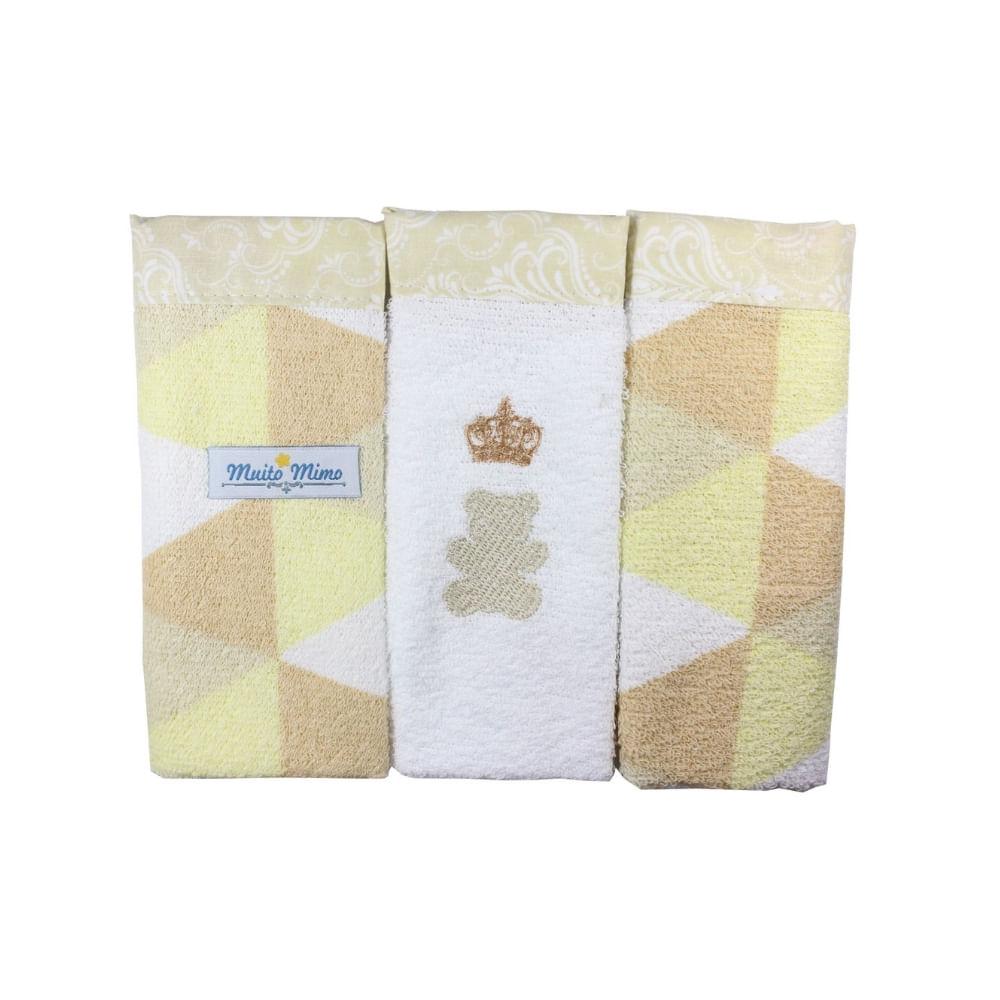Toalha de boca Muito Mimo ursinho com 3 unidades 5746
