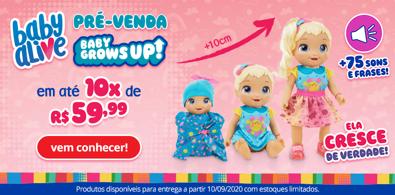 0- Pré-Venda - Boneca Baby Alive - Grows UP - FullBanner - Mobile - act
