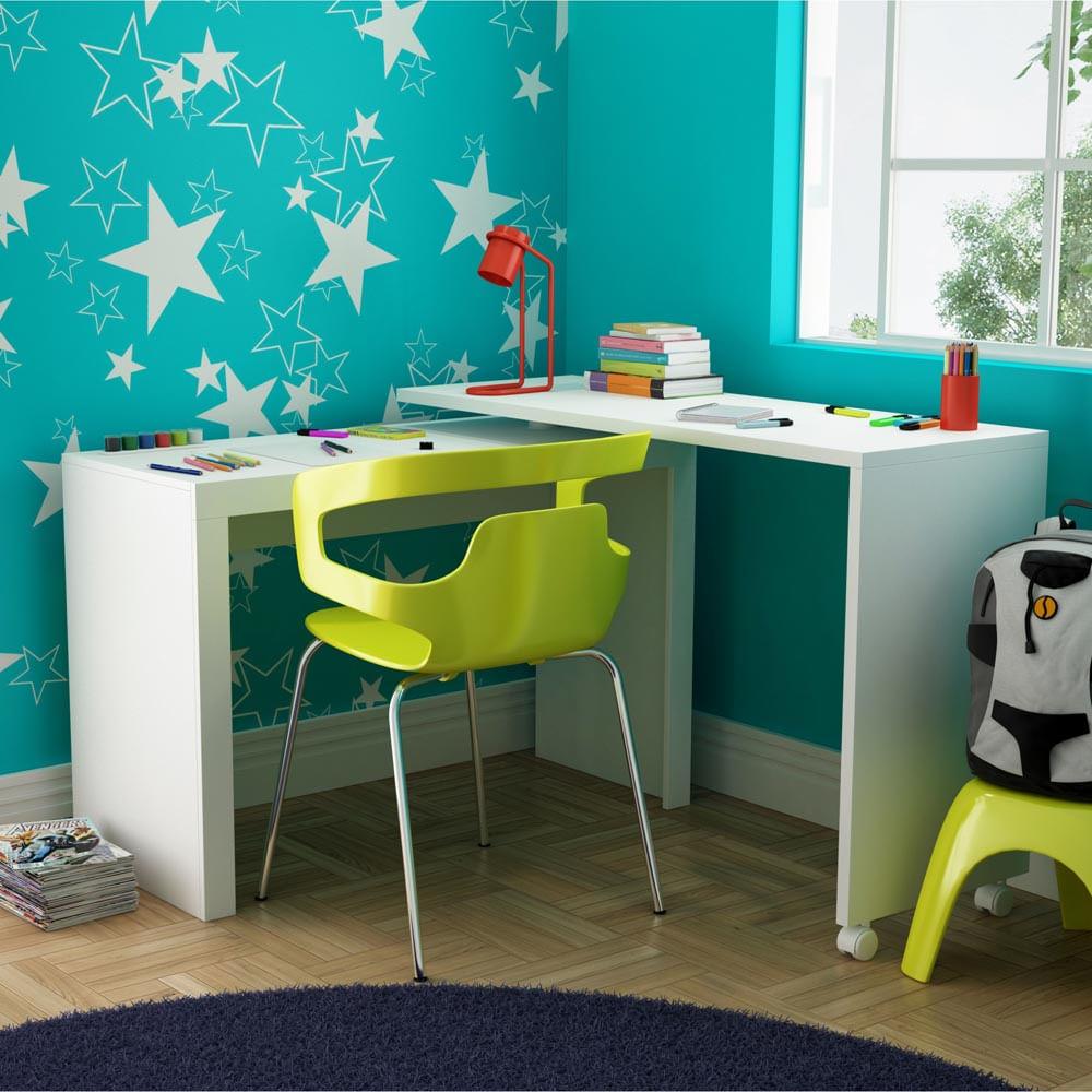 Mesa de Computador em L com rodizio Branco