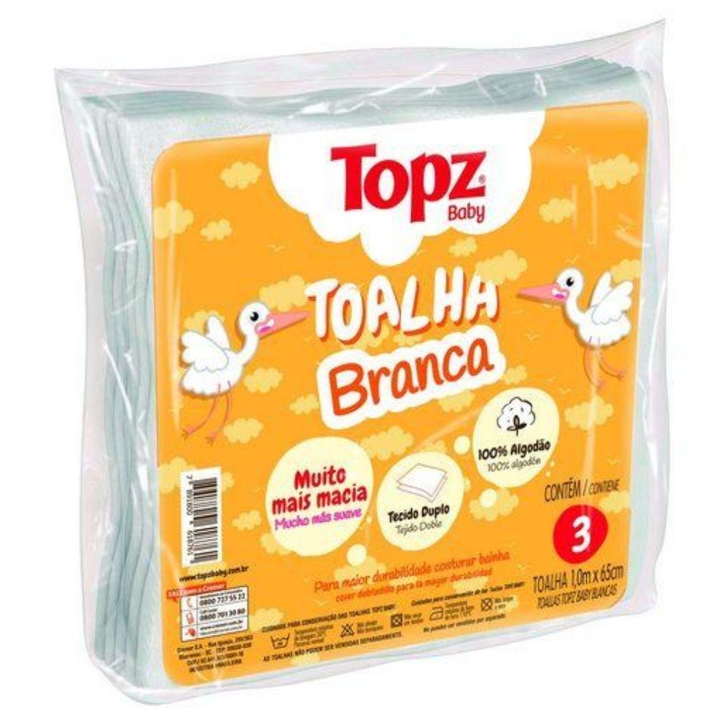 Toalha Fralda Topz Baby Com 3 Unidades branca 618761