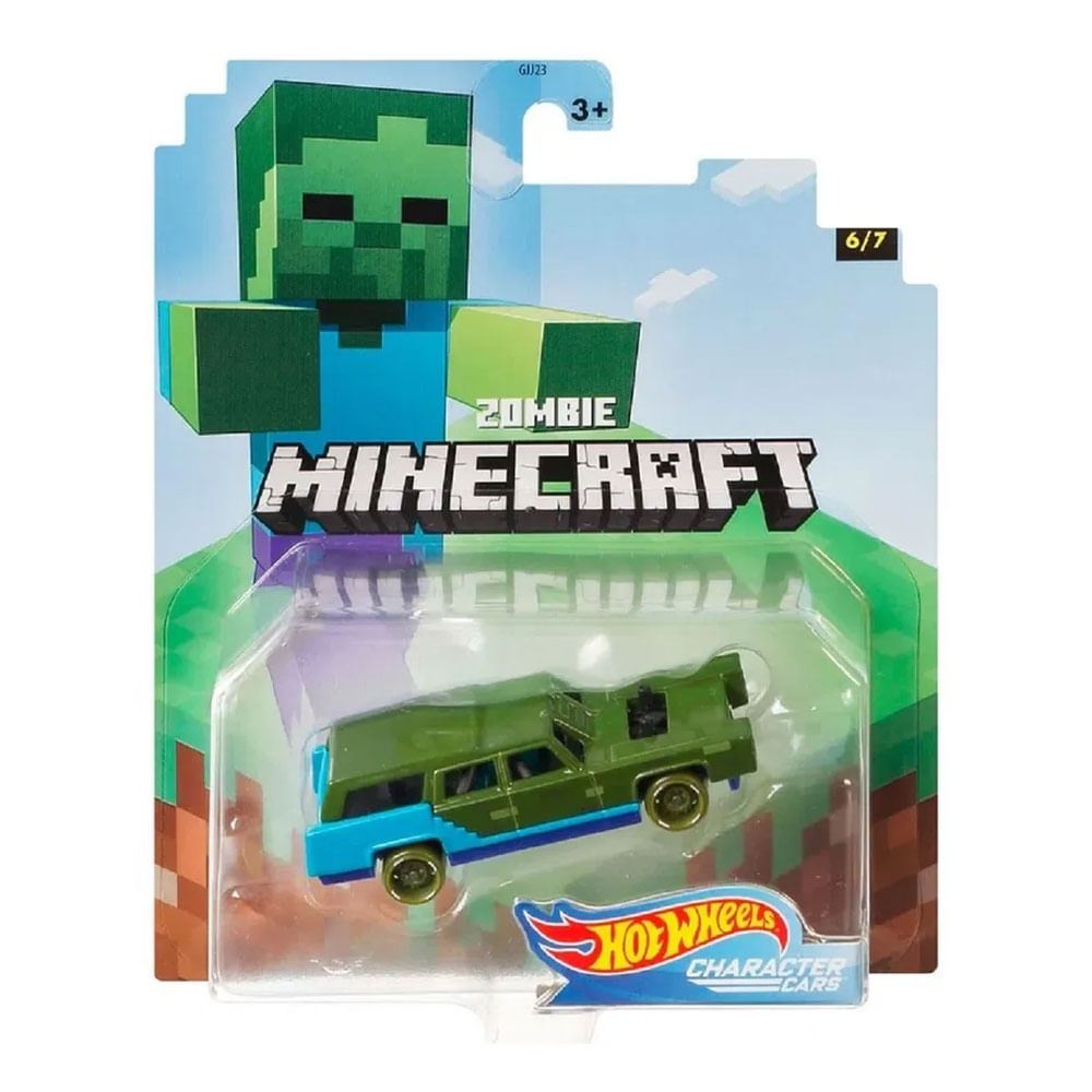 Mini Veículo - Hot Wheels - Gaming Carros - Minecraft - Zombie
