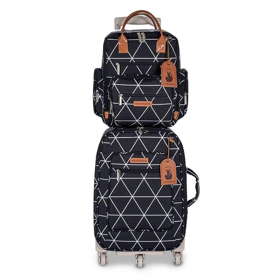 Kit Bolsa maternidade Manhattan Mala de rodinha e Mochila Preta - Masterbag Baby