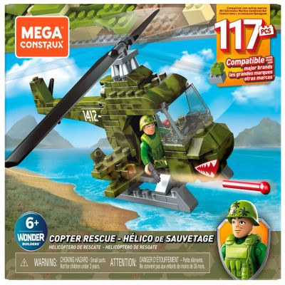 Blocos-de-Encaixe---Mega-Construx---Wonder-Builders---Helicoptero-Militar---Mattel-0